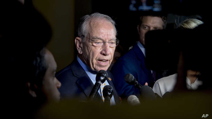 Senate Judiciary Committee Chairman Chuck Grassley, R-Iowa, speaks to reporters on Capitol Hill, Wednesday, Sept. 19, 2018, in Washington. Christine Blasey Ford wants the FBI to investigate her allegation that she was sexually assaulted by Supreme Co