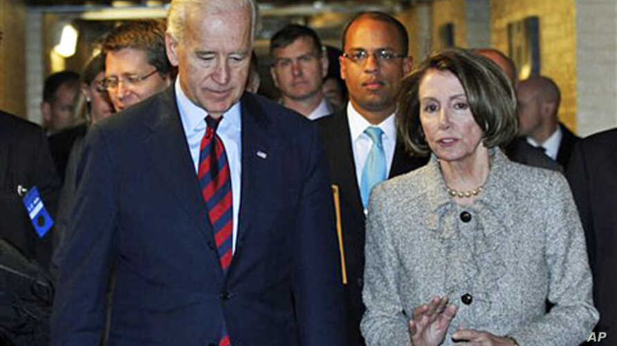 Vice President Joe Biden (L) and House Speaker Nancy Pelosi talk as they leave a Democratic Caucus meeting on Capitol Hill , 08 Dec 2010
