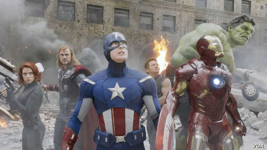 """Black Widow (far left) and Captain America (center) in Marvel's """"The Avengers"""" are popular costumes in 2014. (Marvel)"""