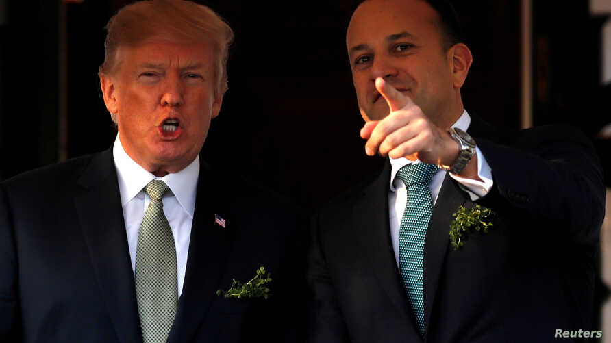FILE - U.S. President Donald Trump welcomes Irish Prime Minister Leo Varadkar for a St. Patrick's Day reception at the White House in Washington, March 15, 2018.
