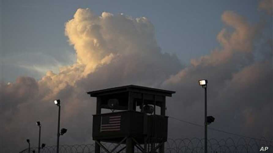 A guard tower in front of the detention facility on Guantanamo Bay US Naval Base in Cuba (File photo)