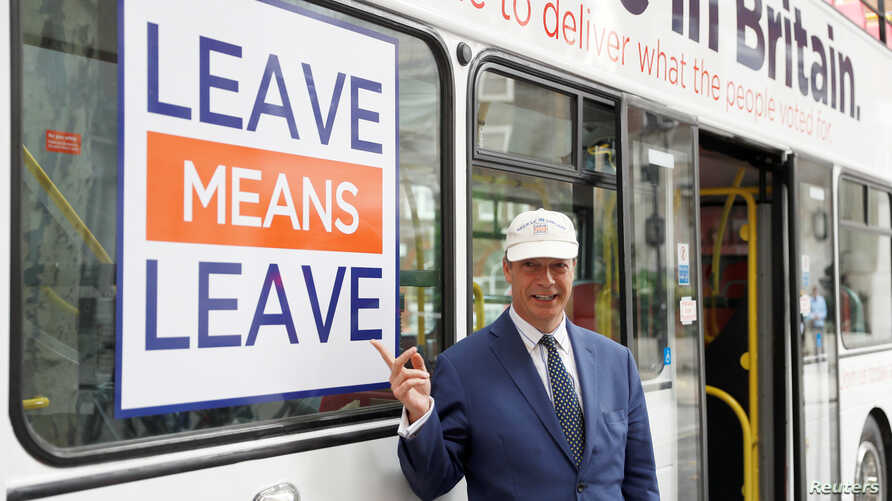 Nigel Farage poses for pictures as he launches Leave Means Leave's campaign against Britain's Prime Minister Theresa May's Chequers Brexit plan, in central London, Sept. 20, 2018. The European Union has also rejected May's plan.