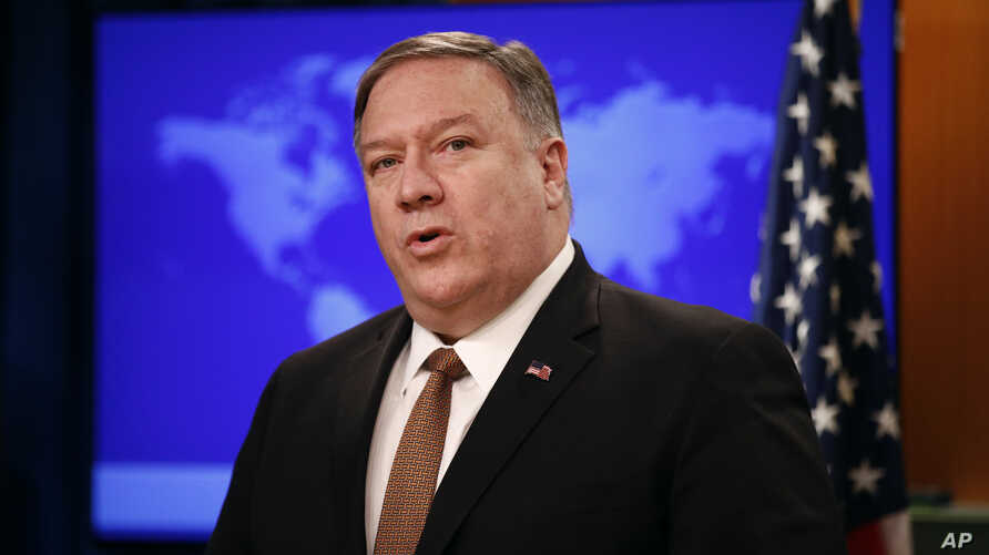 "Secretary of State Mike Pompeo speaks at a news conference to announce the Trump administration's plan to designate Iran's Revolutionary Guard a ""foreign terrorist organization,"" April 8, 2019, at the U.S. State Department in Washington."