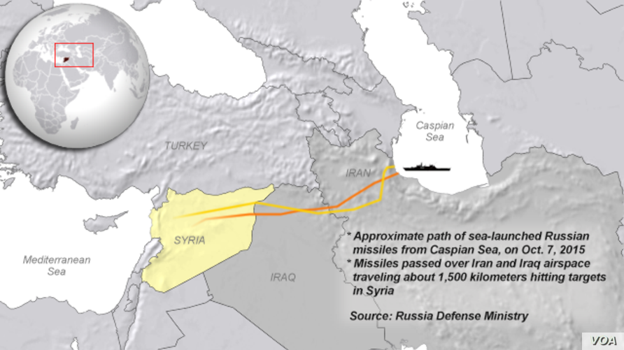 Russia launches missiles from Caspian Sea, Oct. 7, 2015