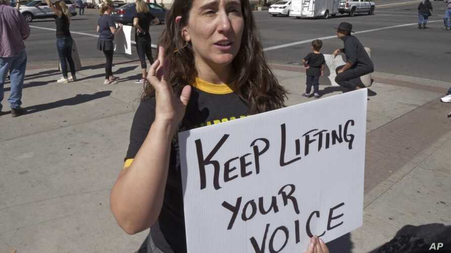Shireen Ghorbani, a Democratic candidate for U.S. House in Utah, attends a rally protesting U.S. Supreme Court nominee Brett Kavanaugh, in Salt Lake City. Ghorbani recently went public with her sexual assault as an 8-year-old, Sept. 28, 2018