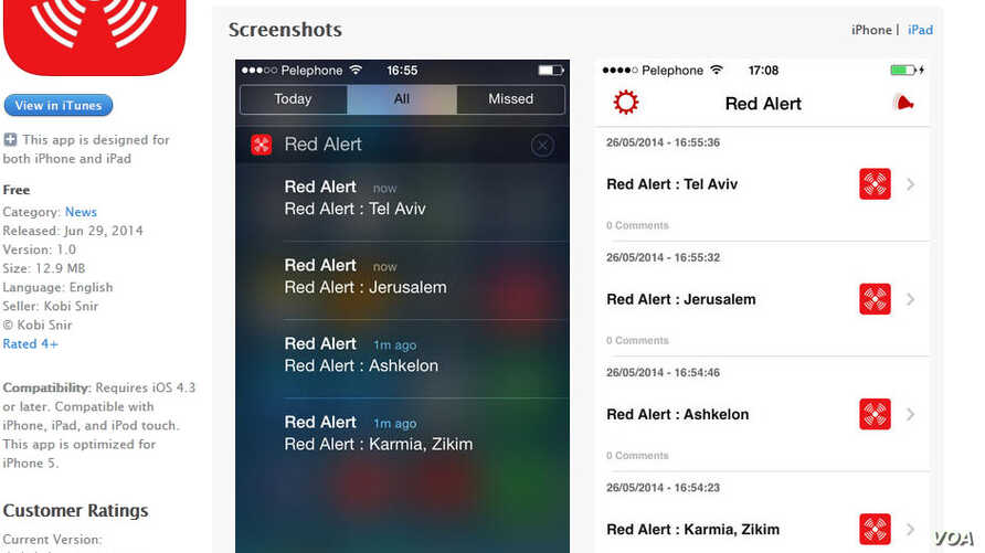 Red Alert mobile phone application warns Israelis of rocket attacks.