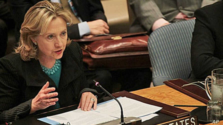 US Secretary of State Hillary Clinton speaks during a meeting at the UN Security Council at the United Nations in New York City to discuss the upcoming referendum in Sudan and to express deep concern about Darfur, 16 Nov 2010