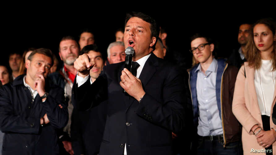 Italy's former Prime Minister Matteo Renzi speaks at the Democratic Party (PD) headquarters in Rome, Italy, April 30, 2017.