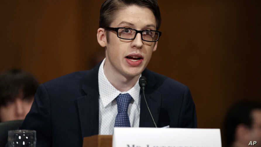 Ethan Lindenberger testifies during a Senate Committee on Health, Education, Labor, and Pensions hearing on Capitol Hill in Washington, March 5, 2019, to examine vaccines, focusing on preventable disease outbreaks.
