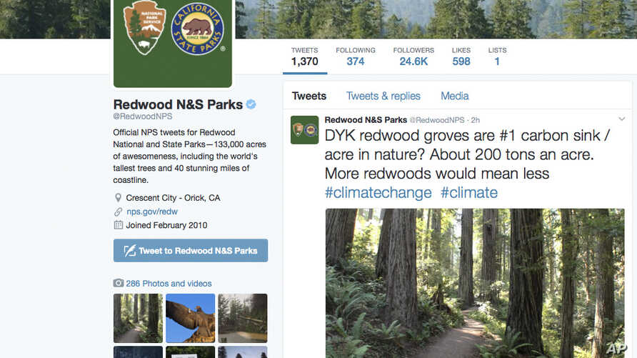 This photo shows a Twitter post from the National Park Service's Redwoods National Park account, noting that redwood groves are nature's No. 1 carbon sink, which capture greenhouse gas emissions that contribute to global warming  Legal experts say th