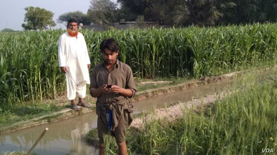A Pakistani farmer checks his cell phone for weather updates and estimates of how much irrigation water he will need over the next few days.(Photo: Credit: Faisal Hossain and PCRWR)