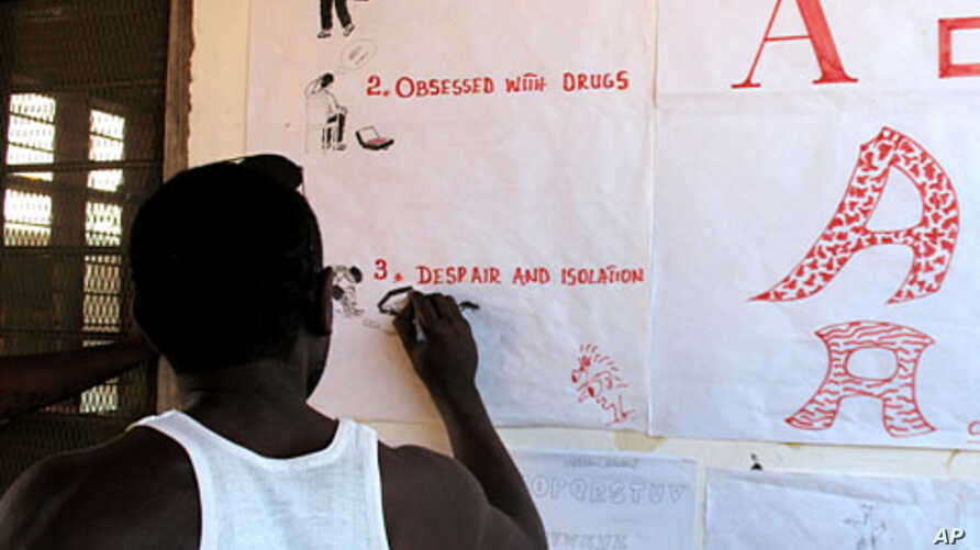Recovering heroin addicts use art therapy and other methods to rebuild their lives at a sober house in Zanzibar, February 9, 2012.