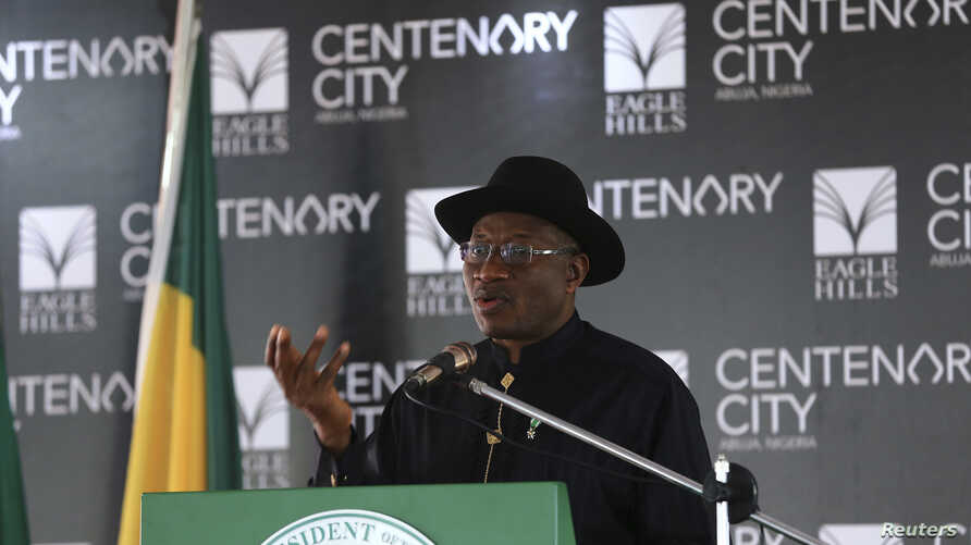 Nigeria's President Goodluck Jonathan speaks during the groundbreaking ceremony of the Centenary City project in Abuja, June 24, 2014.