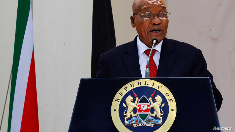 South African president Jacob Zuma said his government will continue to subsidize university costs for the poorest students. He spoke at a joint news conference with Kenyan president Uhuru Kenyatta, in Nairobi, Kenya, October 11, 2016.