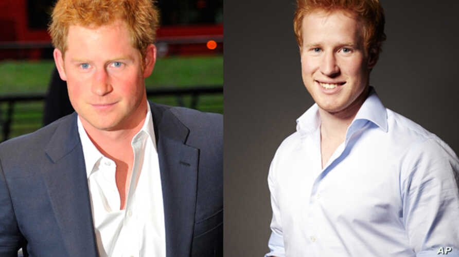 """The real Prince Harry (left) in London earlier this month. Prince Harry lookalike and star of the reality dating show, """"I Wanna Marry 'Harry'"""" Matthew Hicks (right)."""