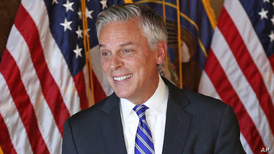Jon Huntsman Jr., the new U.S. ambassador to Russia, is pictured at a ceremonial swearing-in event, Oct. 7, 2017, in Salt Lake City.