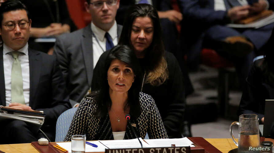 U.S. Ambassador to the United Nations Nikki Haley delivers remarks during a meeting by the United Nations Security Council on North Korea at the U.N. headquarters in New York City, Aug. 29, 2017.