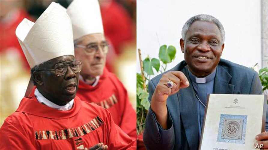Francis Arinze, 80, of Nigeria, (left) and Peter Turkson, 64, of Ghana, (right) are candidates to replace Pope Benedict as head of the Roman Catholic Church..