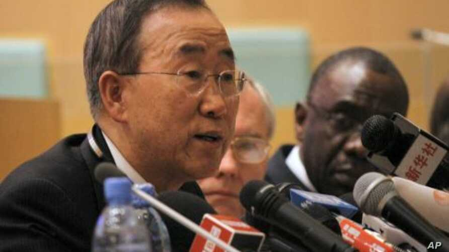 UN Secretary-General Ban Ki-Moon at the opening of an African Union (AU) summit , in Addis Ababa, Ethiopia,  January 29, 2012.