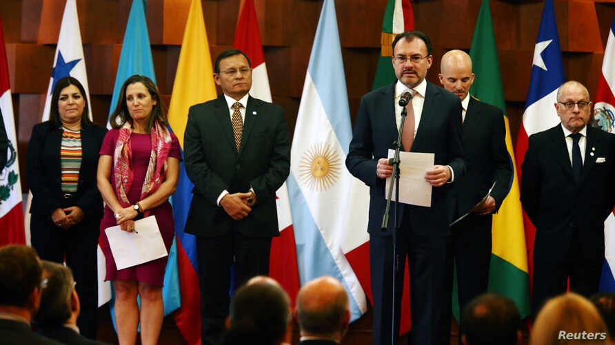 Mexican Foreign Minister Luis Videgaray addresses the media during a meeting of the Lima Group, formed last year to put pressure on Venezuela and whose member countries are monitoring the upcoming Venezuelan presidential elections, in Mexico City, Ma