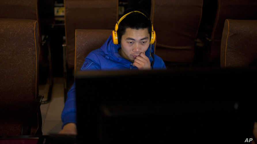 A man uses a computer at an internet cafe in central Beijing, China, December 28, 2012.