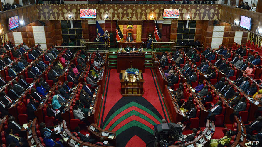 A general view taken March 26, 2015 in Nairobi shows the Kenyan parliament, as President Uhuru Kenyatta addresses two Houses — the Senate and the National Assembly.