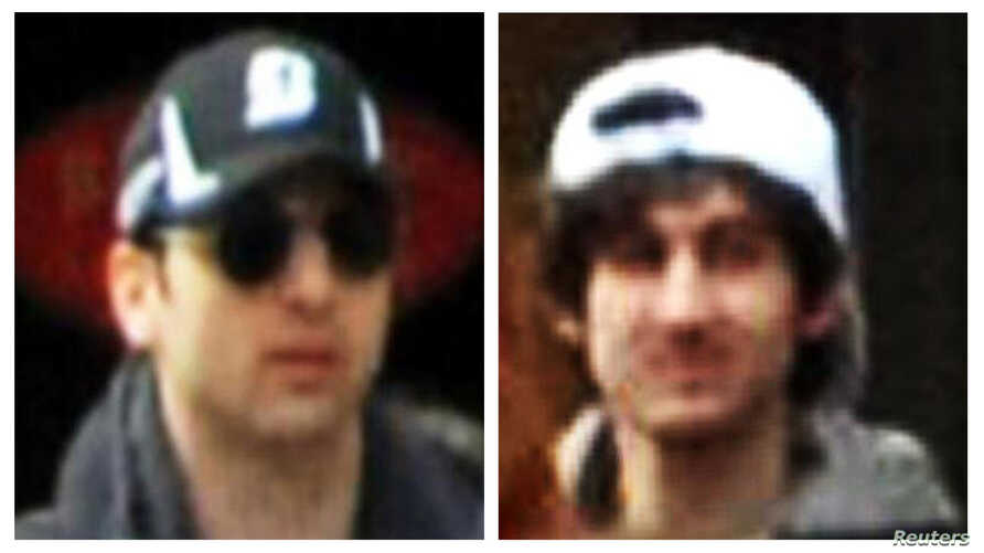 A combination of handout pictures released through the FBI website show the brother suspects in the Boston Marathon bombing, Apr. 18, 2013.