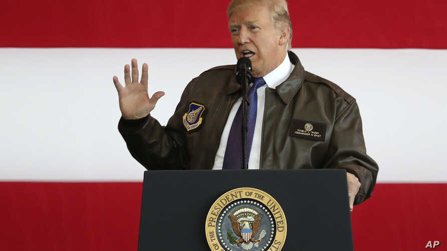 U.S. President Donald Trump addresses the U.S. troops at the U.S. Yokota Air Base, on the outskirts of Tokyo, Nov. 5, 2017.