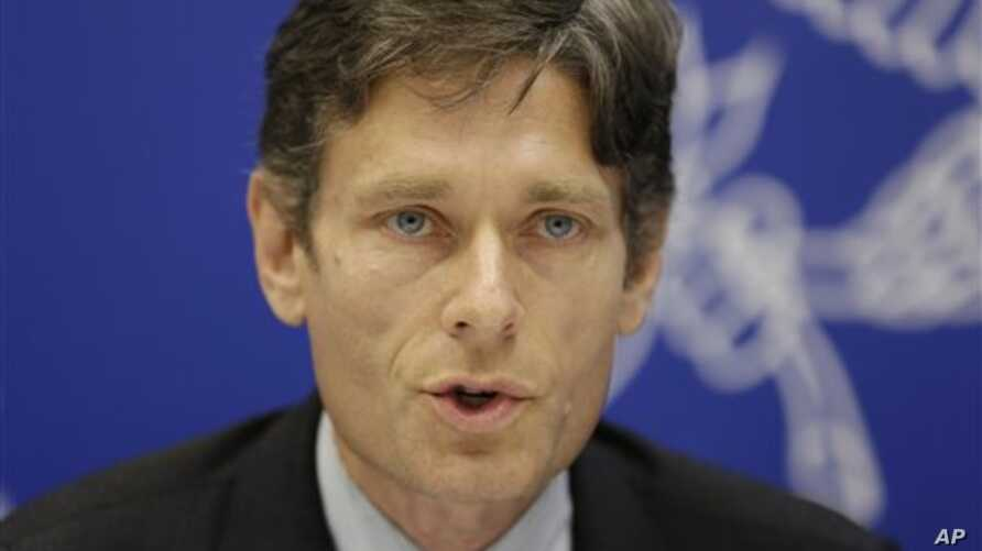 Assistant Secretary for Democracy, Human Rights, and Labor Tom Malinowski speaks at a press conference in Manama, Bahrain, Thursday, Dec. 4, 2014. Malinowski's visit comes five months after he was expelled from Bahrain following a meeting with a lead