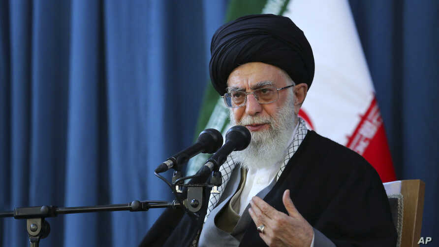 In this picture released by an official website of the office of the Iranian supreme leader on Sunday, March 20, 2016, Supreme Leader Ayatollah Ali Khamenei speaks to a crowd in the northern city of Mashhad, Iran.