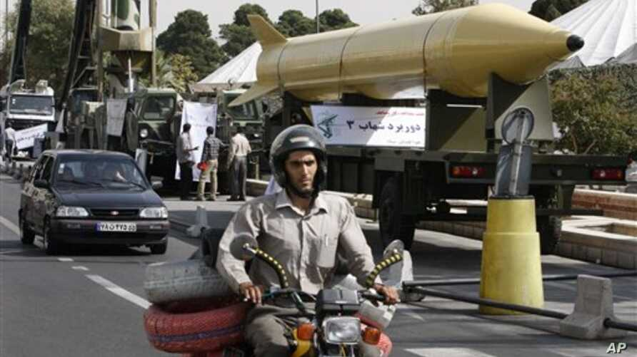 An Iranian Shahab-3 ballistic missile on display in Tehran in September 2010 marking the 30th anniversary of the outset of  the 1980-88 Iran-Iraq war.