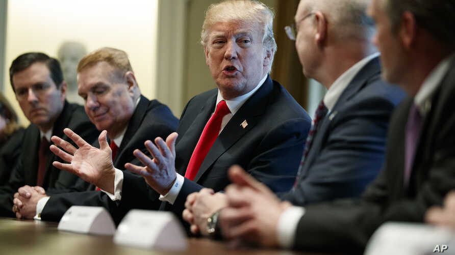 President Donald Trump speaks during a meeting with steel and aluminum executives in the Cabinet Room of the White House, March 1, 2018, in Washington. From left, Roger Newport of AK Steel, John Ferriola of Nucor, Trump, Dave Burritt of U.S. Steel Co