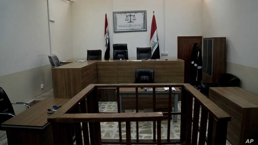 An empty courtroom is seen at Nineveh Criminal Court, one of two counterterrorism courts in Iraq where suspected Islamic State militants and their associates are tried, in Tel Keif, Iraq, April 26, 2018.
