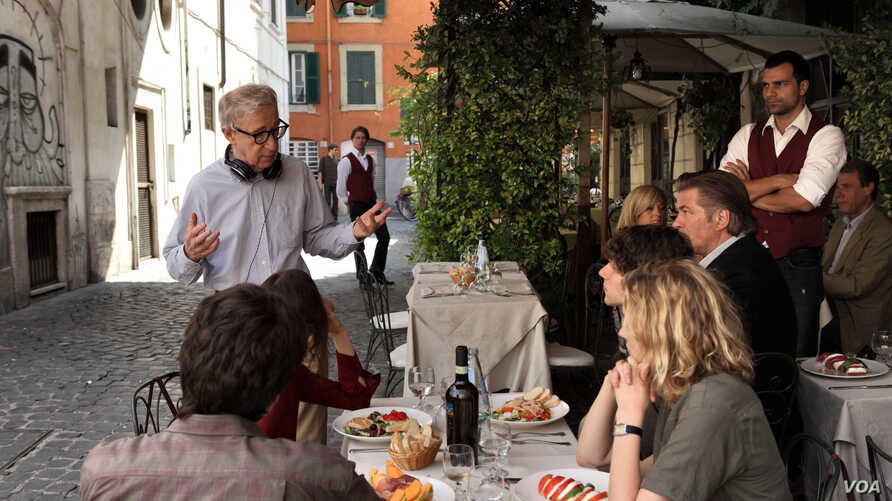 """Woody Allen directs a scene from """"To Rome With Love."""" (Philippe Antonello (c) Gravier Productions, Courtesy of Sony Pictures Classics)"""