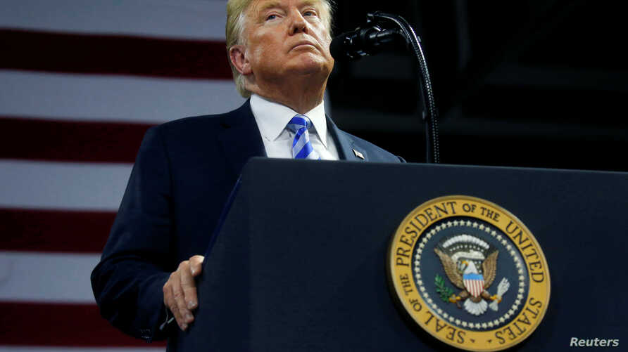 U.S. President Donald Trump speaks at a Make America Great Again rally at the Civic Center in Charleston, West Virginia, Aug. 21, 2018.