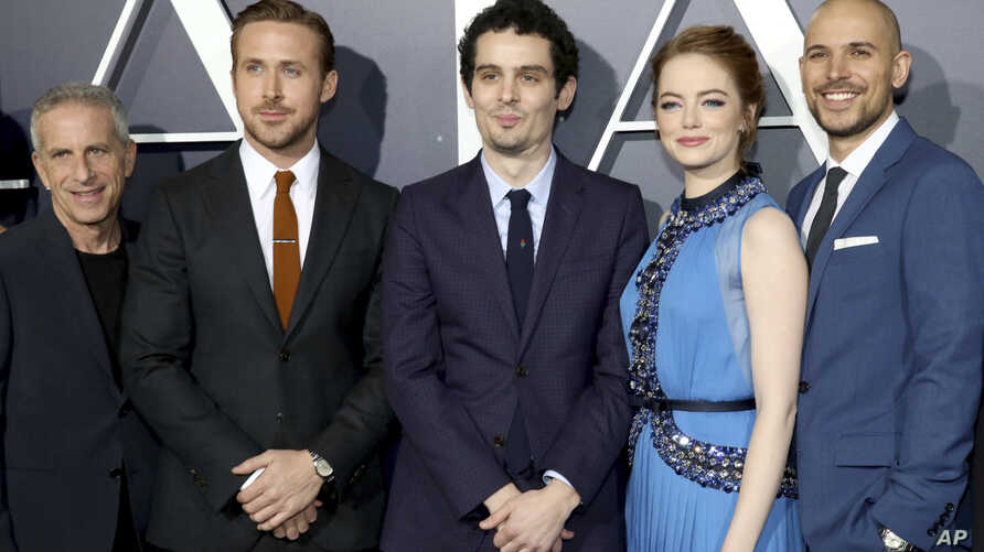 "Producer Marc Platt, Ryan Gosling, Writer/Director Damien Chazelle, Emma Stone and Producer Fred Berger seen at Summit Entertainment, a Lionsgate Company, Presents the Los Angeles Premiere of ""La La Land"" at Village Theater on Dec. 6, 2016, in Los An"