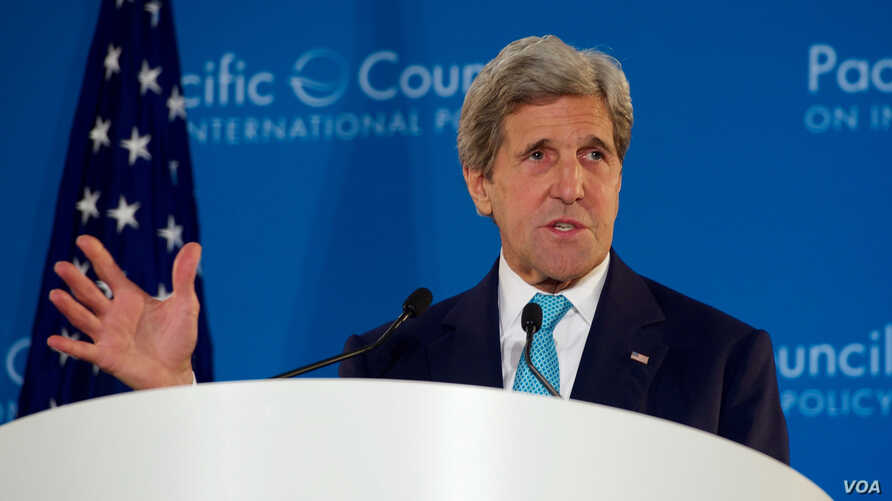 U.S. Secretary of State John Kerry speaks about Pacific trade policy during a speech before the Pacific Council on International Policy at the Omni Hotel in Los Angeles, Calif., April 12, 2016.