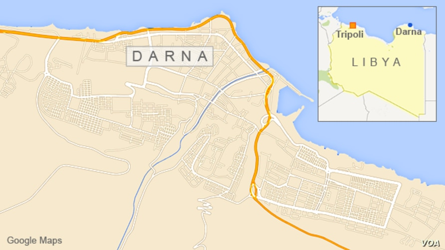 Map of Libya showing Darna