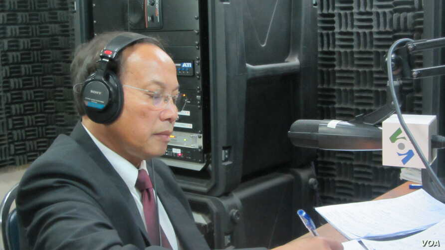 Phay Siphan is a government spokesman in VOA studio in Phnom Penh for Hello VOA