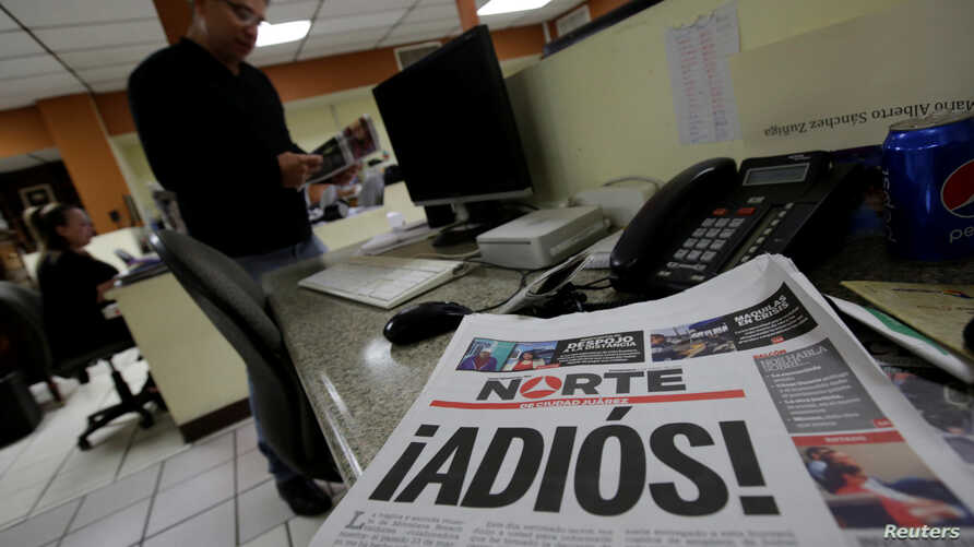 El Norte newspaper is pictured after the paper announced its closure due to what it says is a situation of violence against journalists in Ciudad Juarez, Mexico, April 2, 2017.