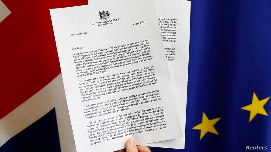 A copy of a letter from Britain's Prime Minister Theresa May, to European Council President, Donald Tusk, regarding Brexit is seen in this picture illustration at the EU Council, April 5, 2019.