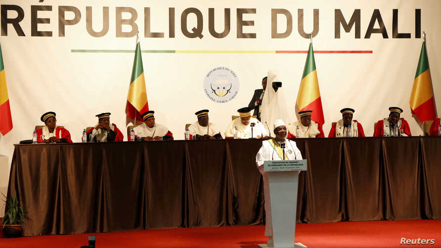 Mali's President Ibrahim Boubacar Keita speaks at his presidential inauguration ceremony in Bamako, Mali, Sept. 4, 2018.