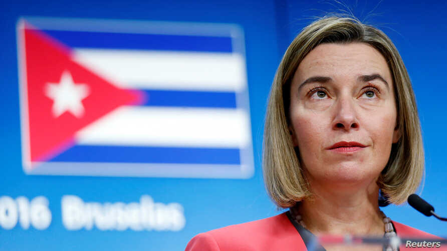 European Union foreign policy chief Federica Mogherini holds a news conference after meeting Cuba's Foreign Minister Bruno Rodriguez at the EU Council in Brussels, Belgium, December 12, 2016.