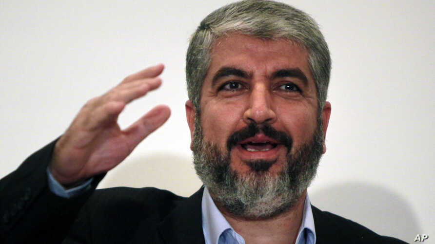 Khaled Meshaal , head of Hamas Politburo in Damascus, talks during a press conference following his talks with Egyptian officials  in Cairo Egypt, Monday, Sept .28, 2009. Meshaal is due to give an answer to Egypt's written proposals on reconciliation