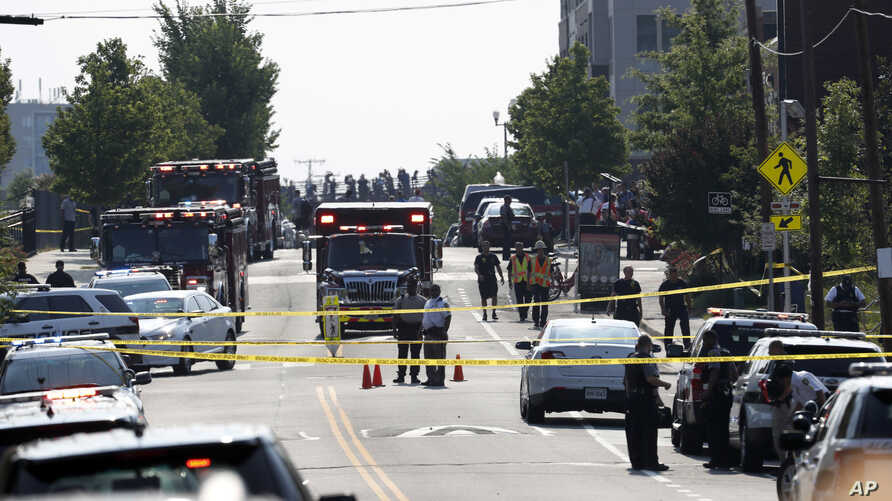 Alexandria, Va. Police and other first responders block East Monroe Ave. in Alexandria, Va., June 14, 2017, after a shooting involving House Majority Whip Steve Scalise of La, at a congressional baseball practice.