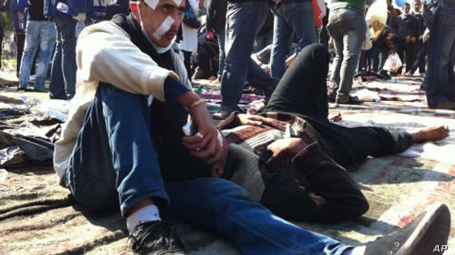 Wounded protesters are shown in Cairo's Tahrir Square,  November 21, 2011.