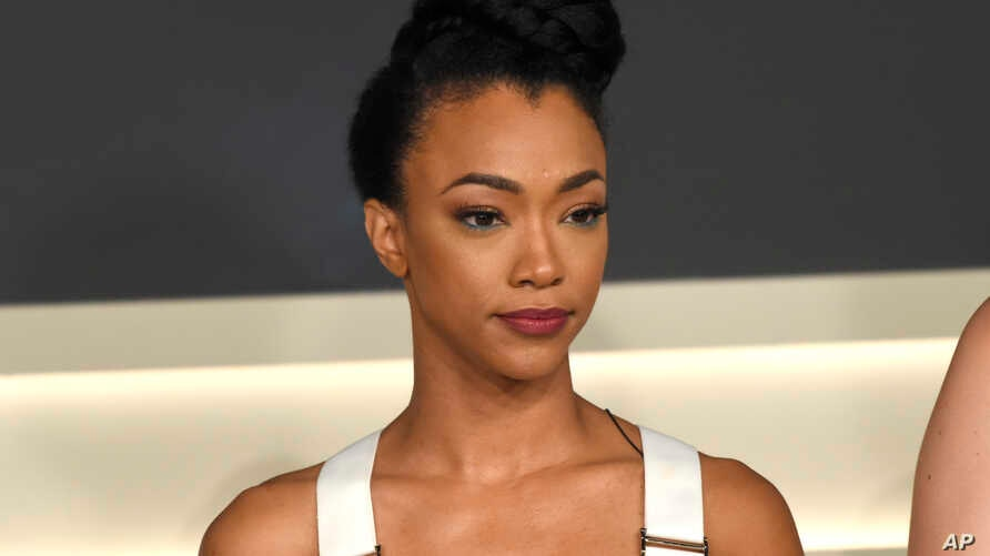 """Sonequa Martin-Green participates in the """"Star: Trek Discovery"""" panel during the Television Critics Association Summer Press Tour at CBS Studio Center in Beverly Hills, Calif., Aug. 1, 2017."""
