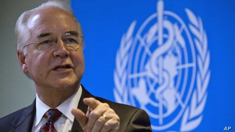 "U.S. Health and Human Services Secretary Tom Price speaks during an event titled ""The Next Pandemic"" at the World Health Organization office in Beijing, Aug. 21, 2017."