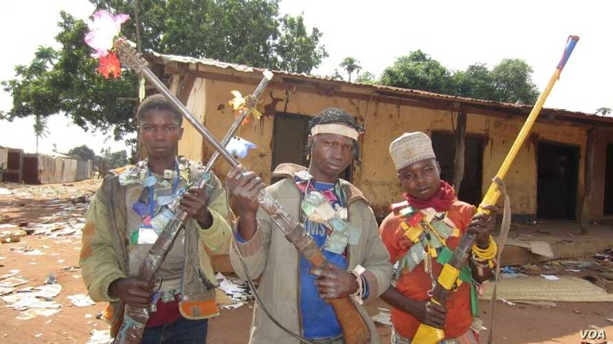 Anti-Balaka youths in Bouguere, 300 km west of the capital where all Muslims were killed