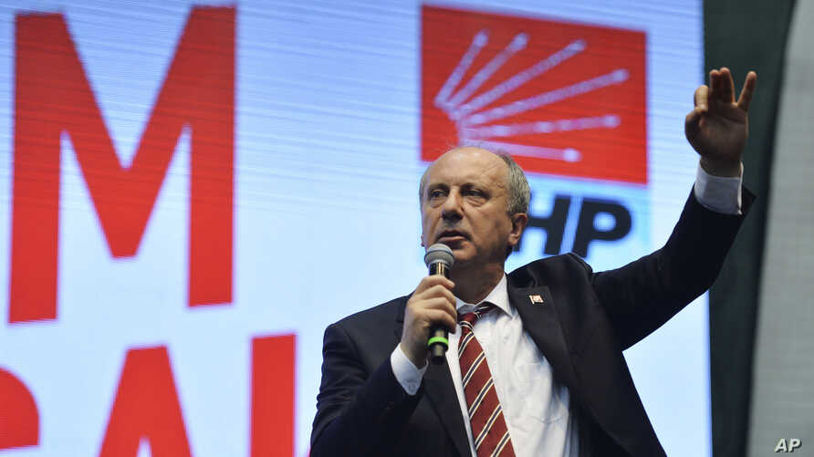 Muharrem Ince, a lawmaker with Turkey's main opposition Republican People's Party, CHP, delivers a speech at his party congress where he was announced as a presidential candidate, in Ankara, Turkey, May 4, 2018.